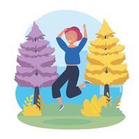Jeune femme, à, chapeau, sauter, dans parc