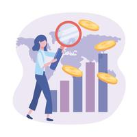 Businesswoman with magnifying glass and coins  vector