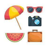 Conjunto de objetos de férias