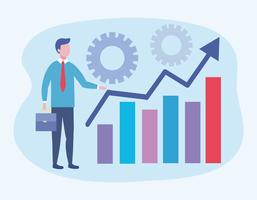 Businessman with arrow and bar graph with gears  vector