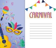 Carnival card with guitar, mask and maracas
