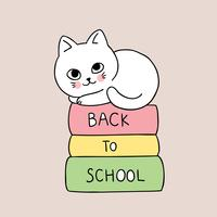 back to school cat and book