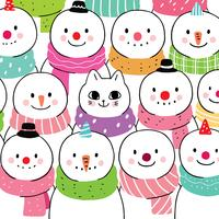 winter cat and snowman  vector