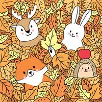 Fox and deer and rabbit and hedgehog in leaves