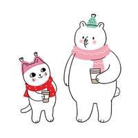 hiver, chat et ours polaire buvant du café