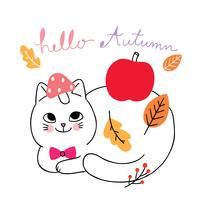 autumn, Cat and leave and apple