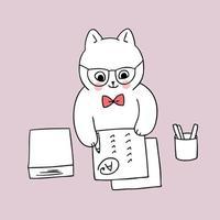 regreso a la escuela, papel de escribir de gato maestro