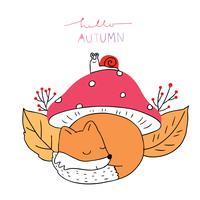 Outono, raposas e caracol sob cogumelo