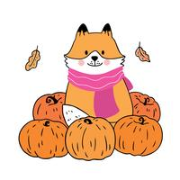 Autumn, Fox and pumpkins