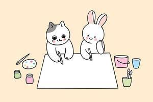 ritorno a scuola gatto e coniglio in classe d'arte