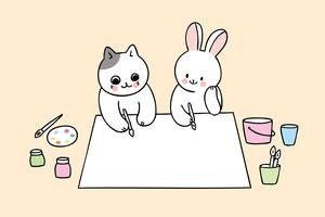 back to school cat and rabbit in art class