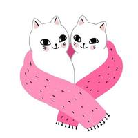 winter cats couple in scarf