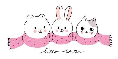 invierno, oso polar y conejo y gato