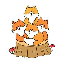 Foxes on stump
