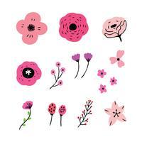 ensemble de fleurs roses vecteur