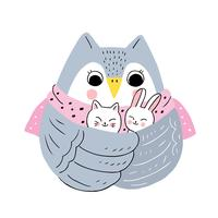 winter owl and cats and rabbit