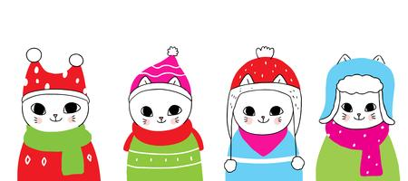 winter cats in hats vector
