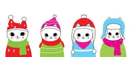 gatos de inverno em chapéus
