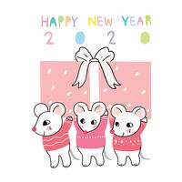 new year 2020 mouse and gift box
