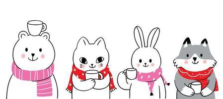 animaux hiver, ours et lapin et chat et renard buvant du café