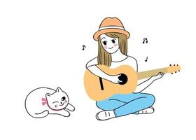 woman playing guitar and cat