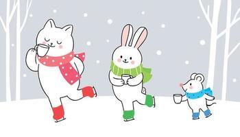 Patinação no gelo para gatos, coelhos e ratos