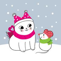 winter cat and mouse  vector