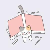 regreso a la escuela gato y libro