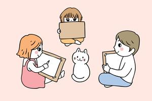 students drawing cat