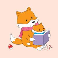red fox mommy and baby reading a book