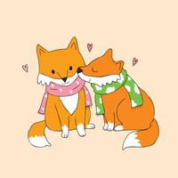 Autumn fox lover kissing
