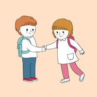 boy and student girl greeting