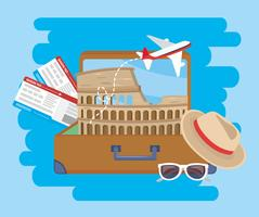Colosseum in suitcase with airplane tickets and sunglasses