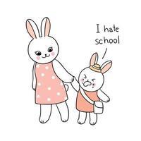 retour à l'école mère et bébé lapin marchant à l'école