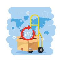 Hand truck with box and 24 hour symbol  vector