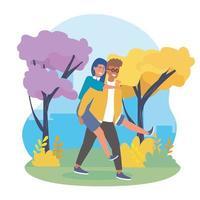 Homem carregando mulher nas costas no parque
