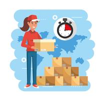 Delivery woman holding box with stopwatch and pile of packages