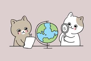 cat looking at a globe