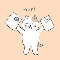 gato de regreso a la escuela feliz