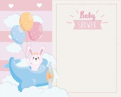 Baby shower card with bunny in airplane holding balloons