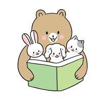 volta às aulas urso lendo livro e bebê animais