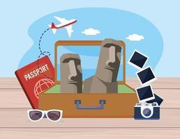 Estátuas da ilha de Páscoa na mala com passaporte e câmera com fotos