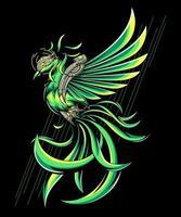 grön pheonix illustration