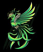 green pheonix illustration