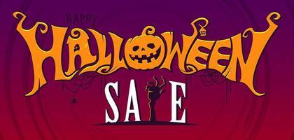 bannière de texte de vente Halloween