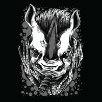 illustration de tshirt illustration rhinocéros noir et blanc
