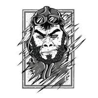 Projeto preto e branco do tshirt da ilustração do gorila