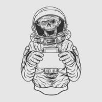 design för t-shirt för astronout för skalle