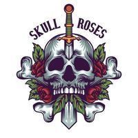 ilustração de caveira e rosas