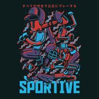 design de camiseta de ilustração vetorial de gangue de beisebol
